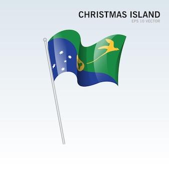 Wapperende vlag van christmaseiland geïsoleerd op grijs