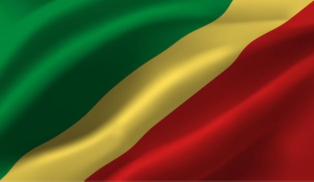 Wapperende vlag van congo. wapperende vlag van congo