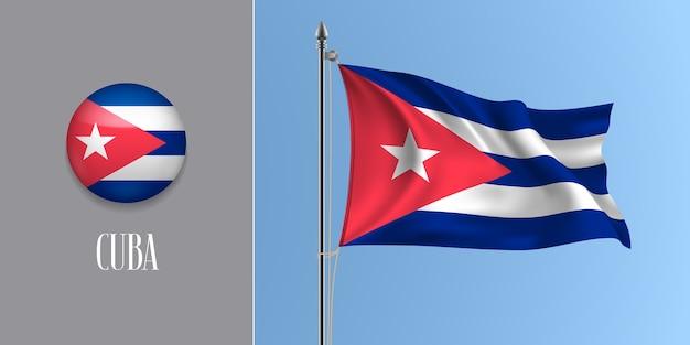 Wapperende vlag van cuba op vlaggenmast en ronde pictogram illustratie