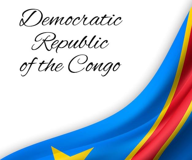 Wapperende vlag van de democratische republiek congo op witte achtergrond.