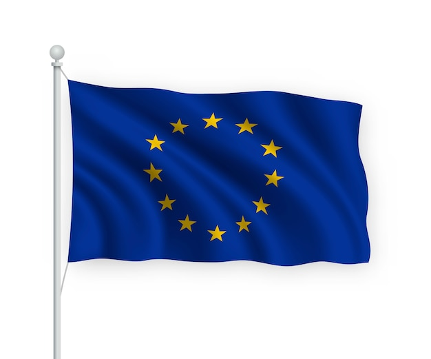 Wapperende vlag van de europese unie op vlaggenmast geïsoleerd op wit