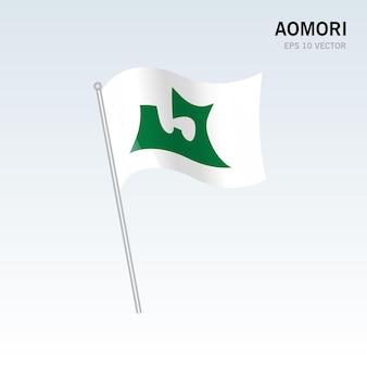 Wapperende vlag van de prefecturen aomori van japan geïsoleerd op een grijze achtergrond