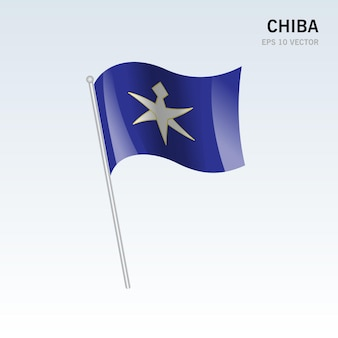 Wapperende vlag van de prefecturen chiba van japan geïsoleerd op een grijze achtergrond