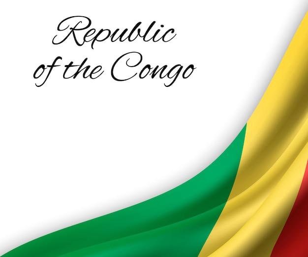 Wapperende vlag van de republiek congo op een witte achtergrond.