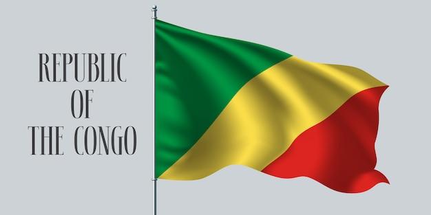 Wapperende vlag van de republiek congo op vlaggenmast