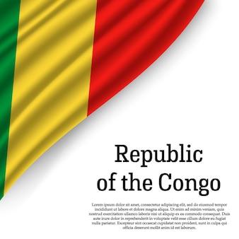 Wapperende vlag van de republiek congo op wit