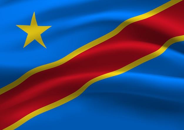 Wapperende vlag van de republiek congo. wapperende vlag van de republiek congo abstracte achtergrond