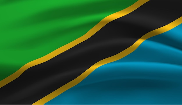 Wapperende vlag van de tanzania wapperende vlag van tanzania abstracte achtergrond