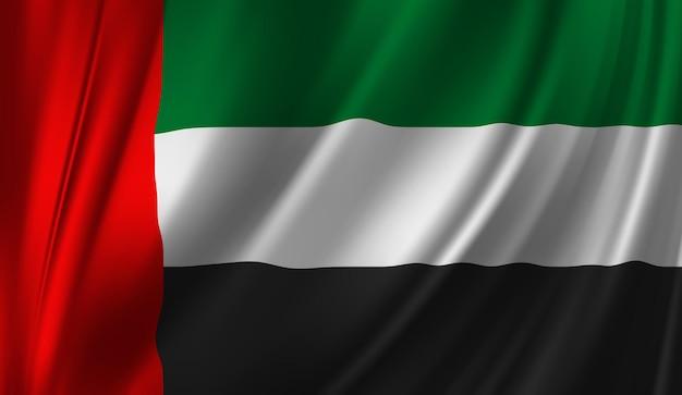 Wapperende vlag van de verenigde arabische emiraten wapperende vlag van de verenigde arabische emiraten abstracte achtergrond