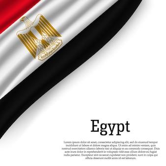 Wapperende vlag van egypte op wit