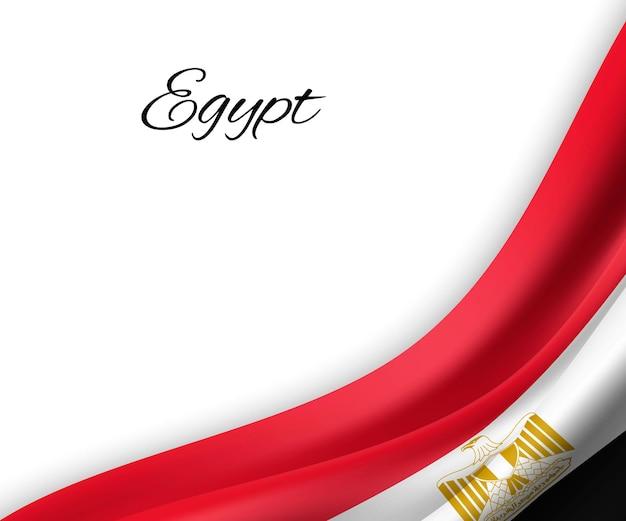 Wapperende vlag van egypte op witte achtergrond.