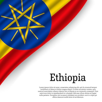 Wapperende vlag van ethiopië op wit