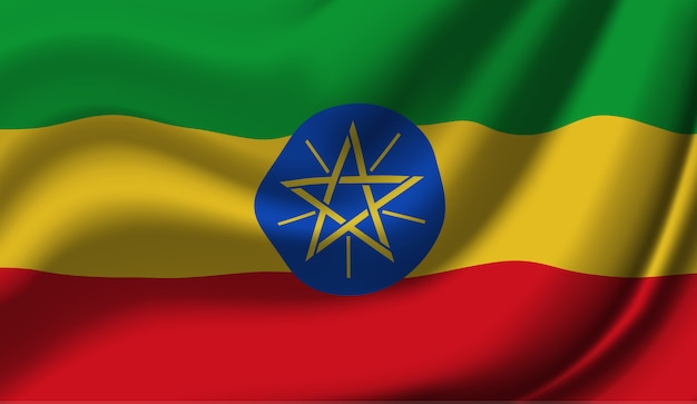 Wapperende vlag van ethiopië. wapperende vlag van ethiopië