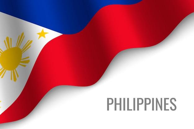 Wapperende vlag van filipijnen Premium Vector