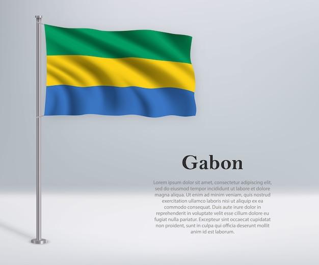 Wapperende vlag van gabon op vlaggenmast