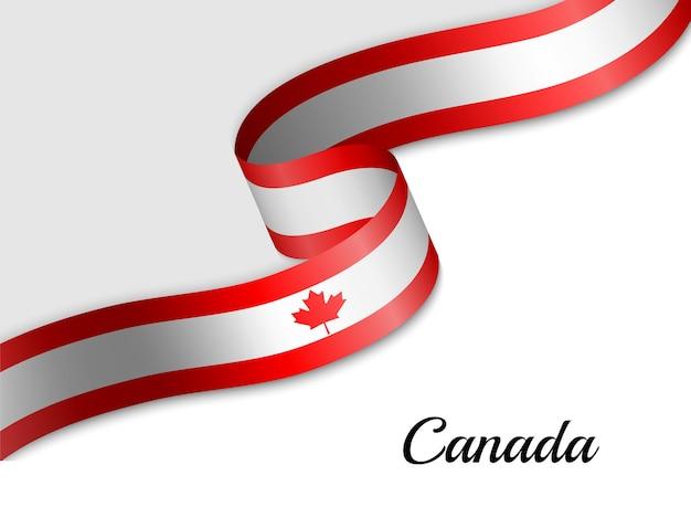 Wapperende vlag van het lint van canada