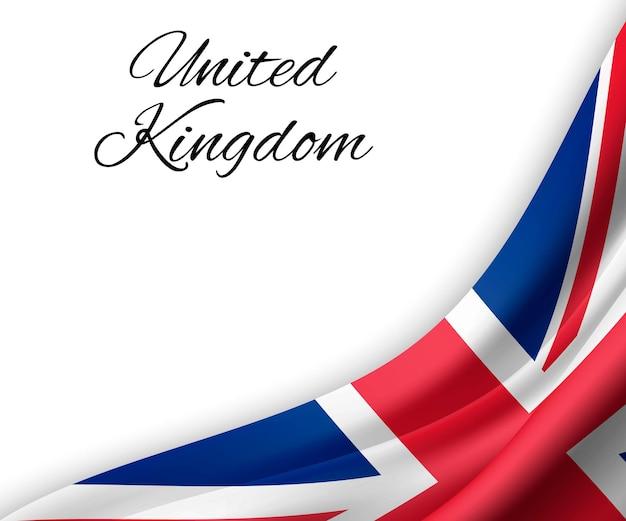 Wapperende vlag van het verenigd koninkrijk op witte achtergrond.