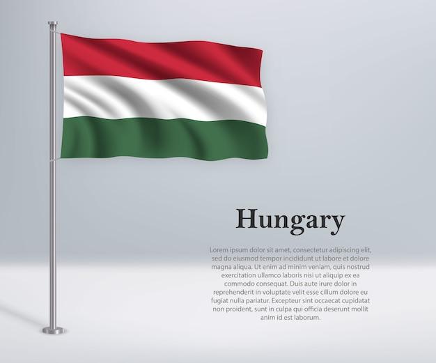 Wapperende vlag van hongarije op vlaggenmast
