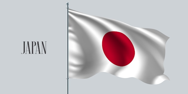 Wapperende vlag van japan op vlaggenmast.