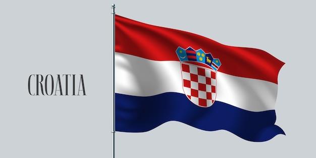 Wapperende vlag van kroatië op vlaggenmast
