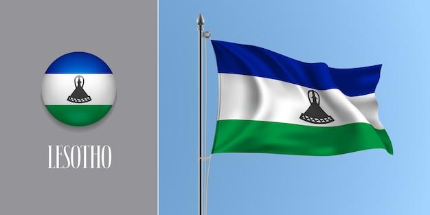 Wapperende vlag van lesotho op vlaggenmast en ronde pictogram illustratie
