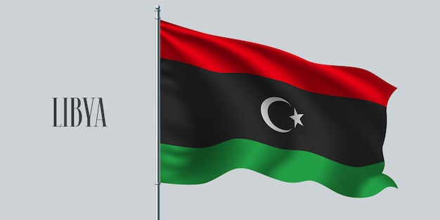 Wapperende vlag van libië op vlaggenmast