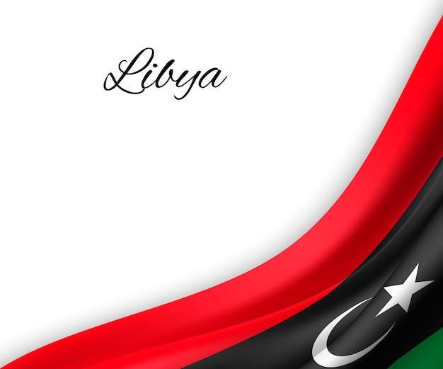 Wapperende vlag van libië op witte achtergrond.
