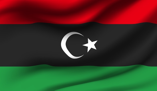Wapperende vlag van libië. wapperende vlag van libië abstracte achtergrond