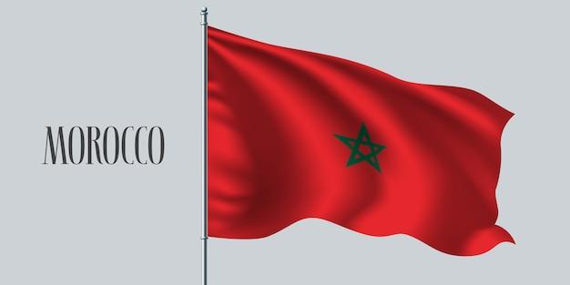 Wapperende vlag van marokko