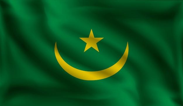 Wapperende vlag van mauritanië, de vlag van mauritanië