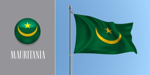 Wapperende vlag van mauritanië op vlaggenmast en ronde pictogram. realistische 3d groen gele mauritaanse vlag en cirkel knop