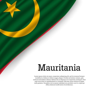 Wapperende vlag van mauritanië op wit