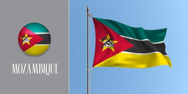 Wapperende vlag van mozambique op vlaggenmast en ronde pictogram. realistische 3d rood zwarte mozambikaanse vlag en cirkel knop