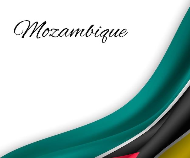 Wapperende vlag van mozambique op witte achtergrond.