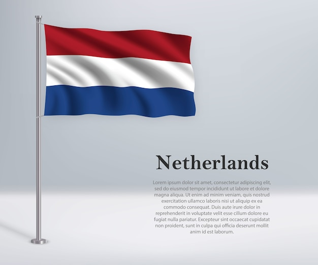 Wapperende vlag van nederland op vlaggenmast