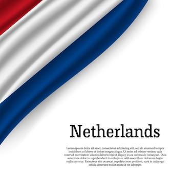 Wapperende vlag van nederland op wit