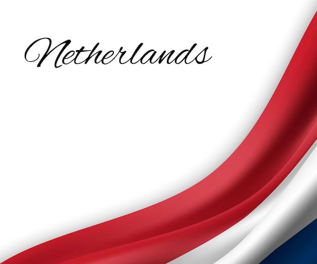 Wapperende vlag van nederland op witte achtergrond.