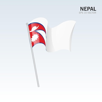 Wapperende vlag van nepal geïsoleerd op grijs