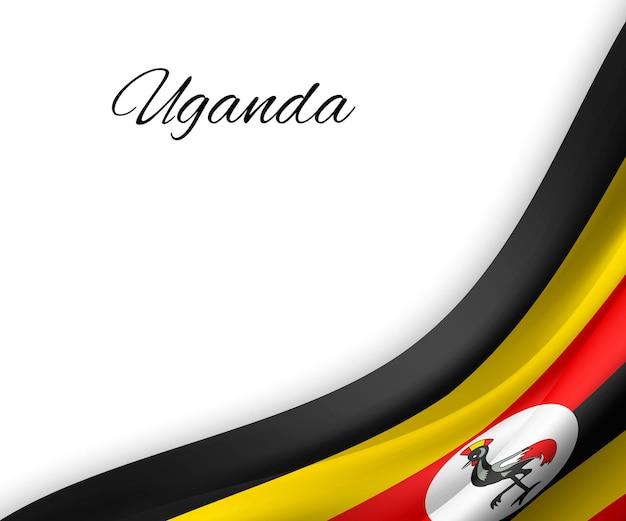 Wapperende vlag van oeganda op witte achtergrond.