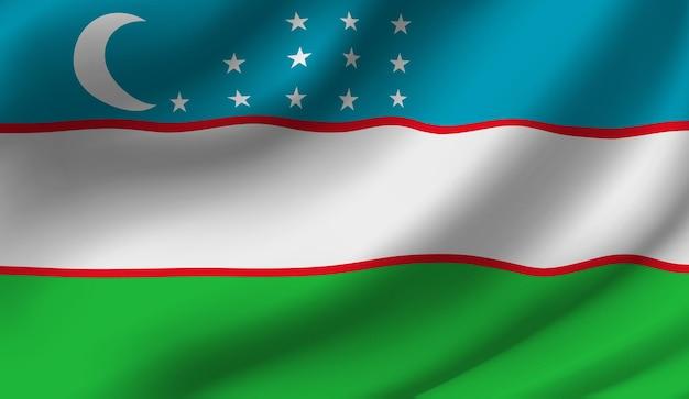 Wapperende vlag van oezbekistan zwaaiende vlag van oezbekistan abstracte achtergrond