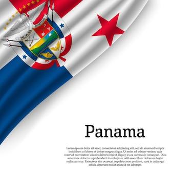 Wapperende vlag van panama op wit