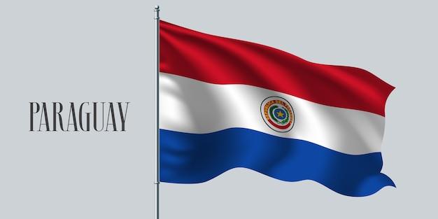 Wapperende vlag van paraguay op vlaggenmast