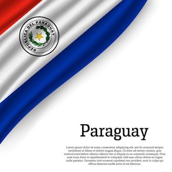 Wapperende vlag van paraguay op wit