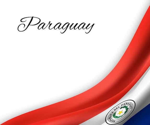 Wapperende vlag van paraguay op witte achtergrond.
