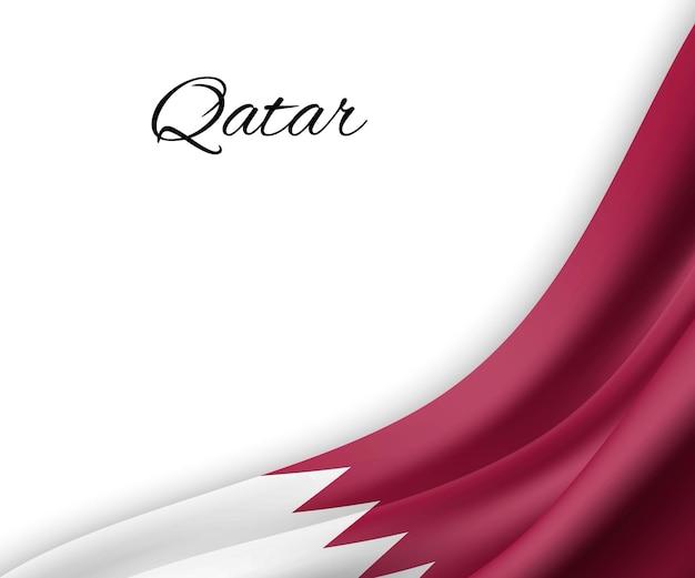 Wapperende vlag van qatar op witte achtergrond.