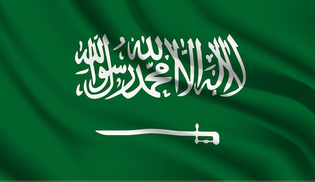 Wapperende vlag van saoedi-arabië. wapperende vlag van saoedi-arabië abstracte achtergrond