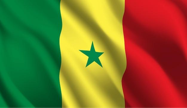 Wapperende vlag van senegal. wapperende vlag van senegal abstracte achtergrond
