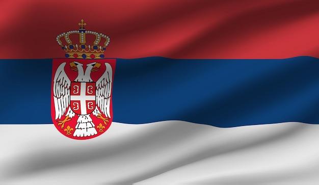 Wapperende vlag van servië. wapperende vlag van servië abstracte achtergrond