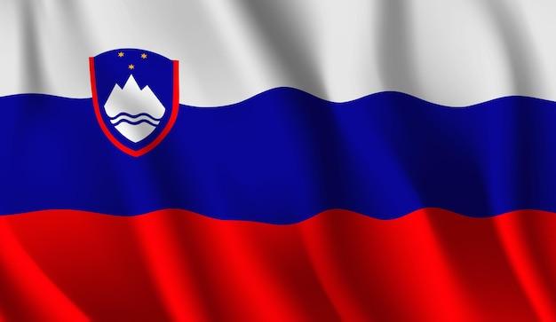 Wapperende vlag van slovenië. wapperende vlag van slovenië abstracte achtergrond