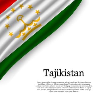 Wapperende vlag van tadzjikistan op wit
